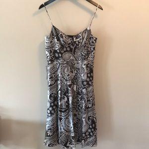 Ann Taylor silk espresso/white lined  dress NWT
